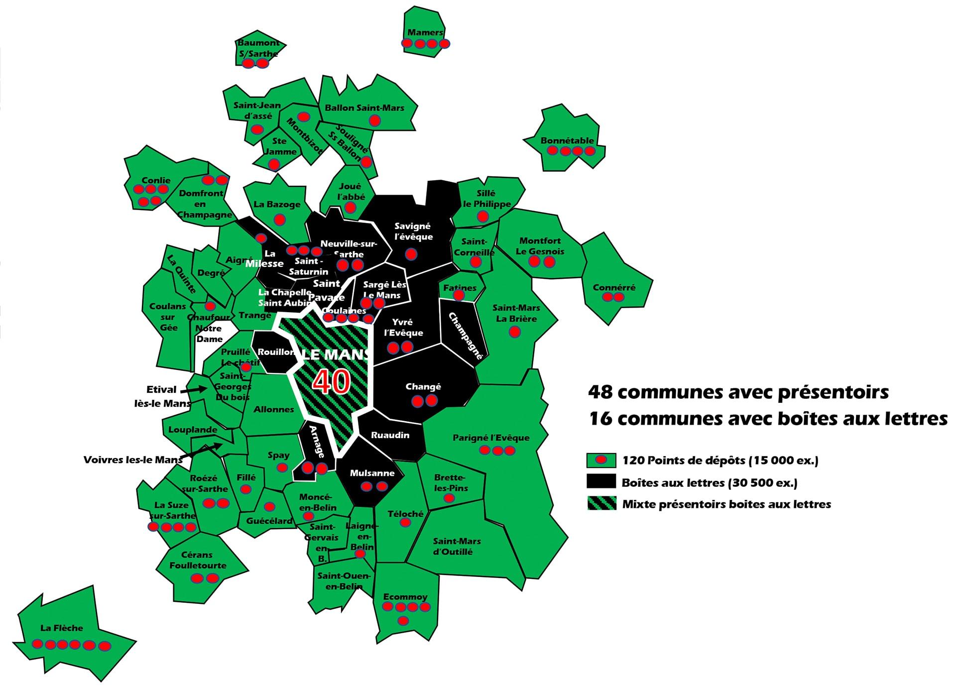 Carte de diffusion du Petit Sarthois